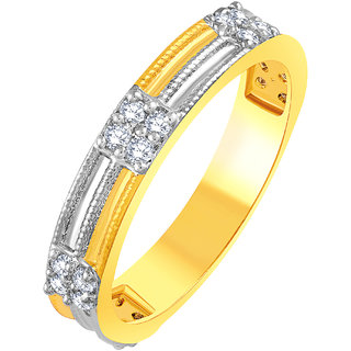 Sukai Jewels Two Tone Stylish Gold Plated Alloy & Brass Cubic Zirconia Finger Ring for Women & Girls [SFR521G]