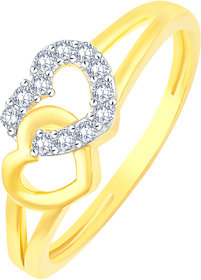 Sukai Jewels Couple Heart Gold Plated Alloy & Brass Cubic Zirconia Finger Ring for Women & Girls [SFR562G]