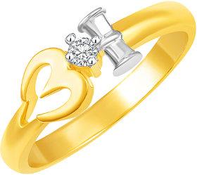 Sukai Jewels Damro OM Gold Plated Alloy & Brass Cubic Zirconia Finger Ring for Women & Girls [SFR577G]