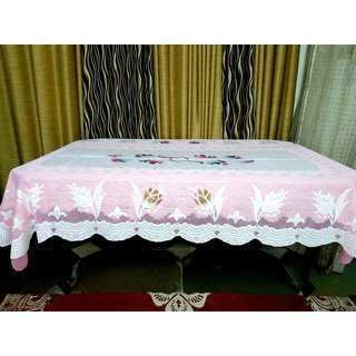 AH Dining Table Cover 6 Seater Floral Design Net Pink Color   90 inch ( 228.6 cm )  x 60 inch ( 152.4 cm)