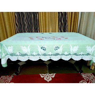 AH Dining Table Cover 6 Seater Floral Design Net Green Color   90 inch ( 228.6 cm )  x 60 inch ( 152.4 cm)