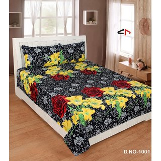 Chawla Black Yellow Flower Double Bedsheet Pack of 1 +2 Pillow Cover