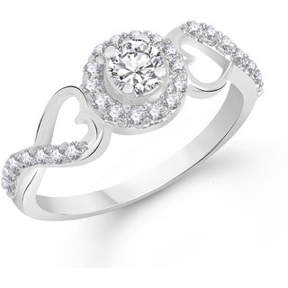 Sukai Jewels Bonded Heart Solitaire Rhodium Plated Alloy & Brass Cubic Zirconia Finger Ring for Women & Girls [SFR592R]