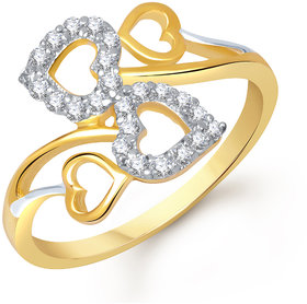 Sukai Jewels Bonded Heart Gold Plated Alloy & Brass Cubic Zirconia Finger Ring for Women & Girls [SFR602G]