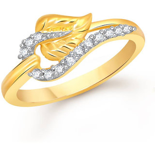 Sukai Jewels Leafy Solitaire Gold Plated Alloy & Brass Cubic Zirconia Finger Ring for Women & Girls [SFR617G]