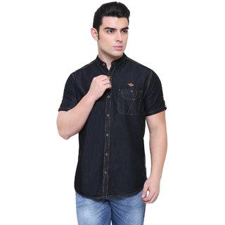 KACLHS1179 - Kuons Avenue  Men's Black Half Sleeve Denim Casual Shirt For men's