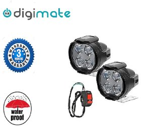 Digimate 4 LED Car-Bike Fog Light LED Lamp Pair With On-Off Switch.