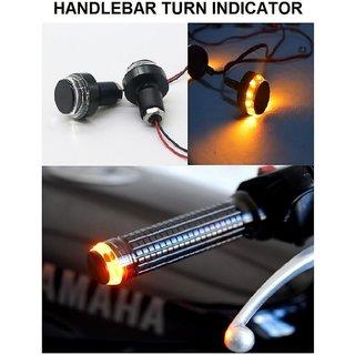 Motorcycle Handlebar Dual Color Turn Signal Grip Bar End LED Plug Strobe Side Indicator Light For - All bike.