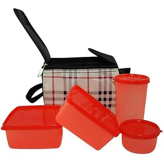 Bincy Checkprint Top 4 Red Container Lunch Box ( Microwave Safe ) 4 Containers Lunch Box  (1000 ml)