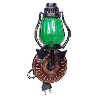 Desi Karigar Wooden  Iron Fancy Wall Hanging Electric Chimney Lamp Size(LxBxH-6x5x11) Inch, Color Green