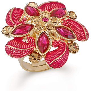 Sukai Jewels Red Floral Gold Plated Zinc Ethnic Pearl Adjustable Finger Ring for Women and Girls [SFR685G]