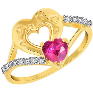 Sukai Jewels Red Ruby Heart Gold Plated Alloy & Brass Cubic Zirconia Finger Ring for Women & Girls [SFR708G]