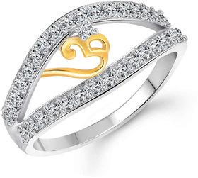 Sukai Jewels OM Rhodium Plated Alloy & Brass Cubic Zirconia Finger Ring for Women & Girls [SFR780R]