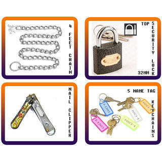 TRAVEL LUGGAGE BAG SECURITY + ACCESSORIES (4FT CHAIN+32MM LOCK+NAIL CLIPPER+5 KEYCHAIN)
