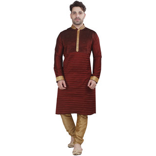 Conway Red A-line Festive Solid Sherwani For Men's