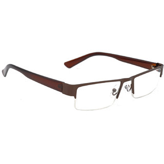 HRINKAR Unisex Brown Rectangular Medium Half Rim Reading Glasses