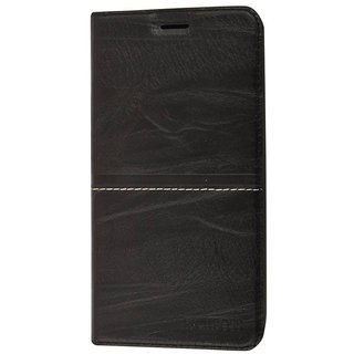 Rich Boss Premium Quality Synthetic Leather Flip Cover Stand View Feature for Samsung Galaxy A6 Plus ( Black  )
