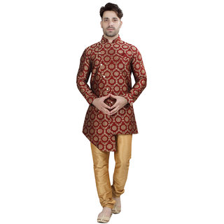 Conway Red Floral Print Stylist Sherwani For Men's
