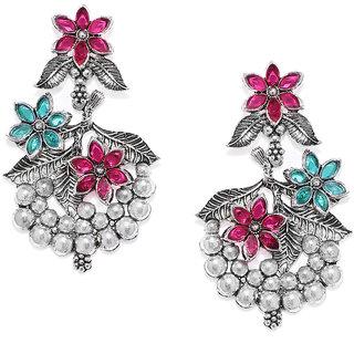 Zaveri Pearls Antique Silver Floral Design Dangle Earring For Women-ZPFK7716