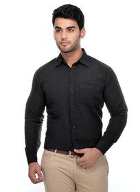 Khadio Men's Black Regular Fit Formal Shirt