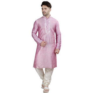 Conway Pink Floral Print Silk Sherwani Set For Mens