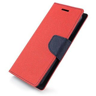 Wallet Flip Cover for Micromax Canvas 2 A110  ( RED )