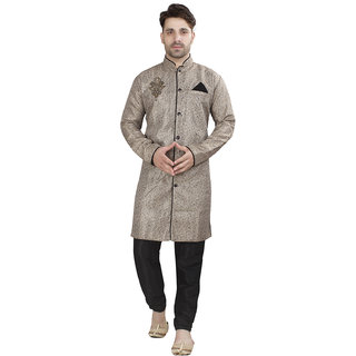 Conway Gray Solid Sherwani For Mens