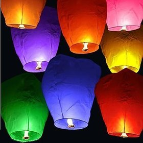 Crazy Sutra 3-Piece Make A Wish High Flying Sky Lantern Balloon with Fuel Wax Candle, Multicolour