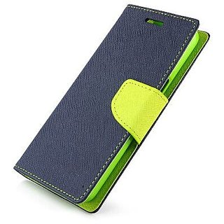 Wallet Flip Cover for Lenovo A2010  ( BLUE )