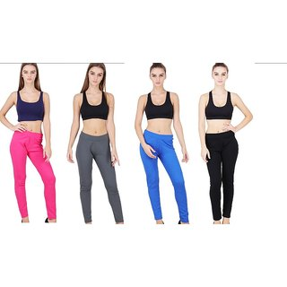 Pack of 4 Solid Jeggings (with 2 back pockets)