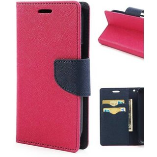 Stylish Luxury Mercury Magnetic Lock Diary Wallet Style Flip Cover Case for Redmi 1S  ( PINK )