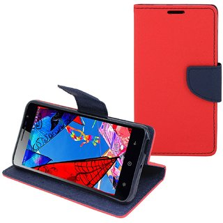 Stylish Mercury Magnetic Lock Diary Wallet Style Flip Cover Case for Reliance Lyf Wind 5  ( RED )