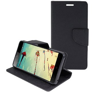 Stylish Mercury Magnetic Lock Diary Wallet Style Flip Cover Case for Reliance Lyf Wind 6  ( BLACK )
