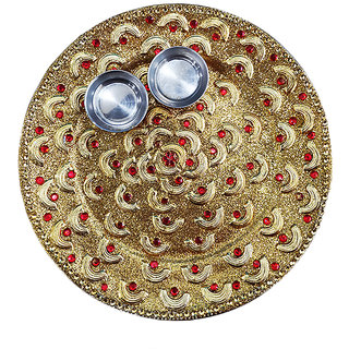 Beautiful Karwachauth/Navratri/Diwali Pooja Golden Thali, Best Thali  For every Occassion
