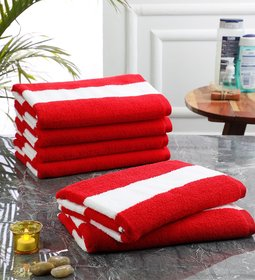 Bathe  Soak Pack of 6 Microfiber Bath Towel Cabana, 70x140 cms, Large, 250 GSM (White  Red)