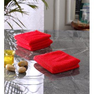 Bathe  Soak Pack of 3 Microfiber Face Towel, 24x24 cms, 250 GSM, Red