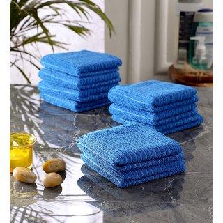 Bathe  Soak Pack of 9 Microfiber Kitchen Dish Towel, 24x24 cms, 250 GSM, Blue