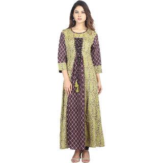 Hastakala Brown Block Print Rayon silk Stitched Kurti