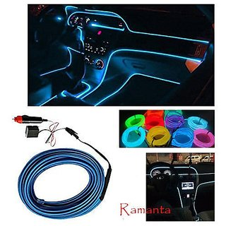 Ramanta Universal ICE Blue Cold EL Wire for Car Dashboard Car Interior Light Ambient Neon Light for All Car - 5 Meter Roll (ICE Blue, Pack of 1)