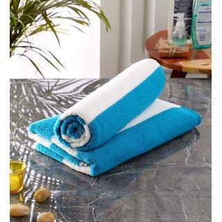 Bathe  Soak Pack of 2 Microfiber Bath Towel Cabana, 70x140 cms, Large, 250 GSM (White  Blue)