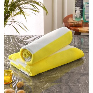 Bathe  Soak Pack of 2 Microfiber Bath Towel Cabana, 70x140 cms, Large, 250 GSM (White  Yellow)