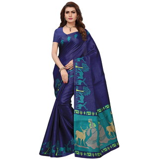 Indian Beauty Women's Blue Hazari Printed Cotton Saree With Blouse