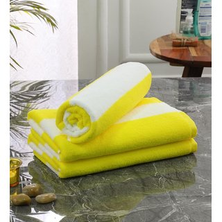 Bathe  Soak Pack of 3 Microfiber Bath Towel Cabana, 70x140 cms, Large, 250 GSM (White  Yellow)