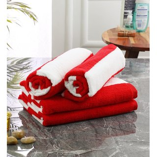 Bathe  Soak Pack of 4 Microfiber Bath Towel Cabana, 70x140 cms, Large, 250 GSM (White  Red)