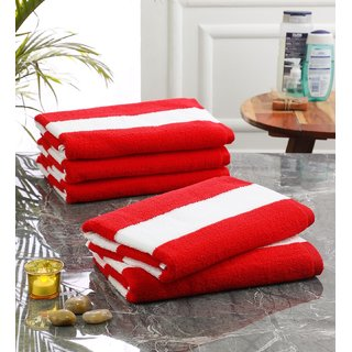Bathe  Soak Pack of 5 Microfiber Bath Towel Cabana, 70x140 cms, Large, 250 GSM (White  Red)