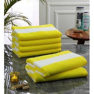 Bathe  Soak Pack of 6 Microfiber Bath Towel Cabana, 70x140 cms, Large, 250 GSM (White  Yellow)