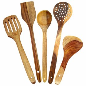 Pack Of 5 Kitchen Wooden Skimmer Spoons Cutlery, Brown