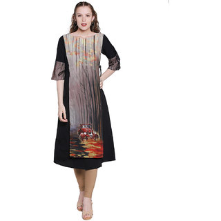RITAM Women's Multicolor Self Design Crepe Stitched 3/4th Sleeves Kurti