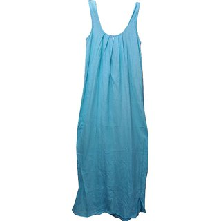 K T Collection Cotton Long Slip Nighty Size Large Skyblue