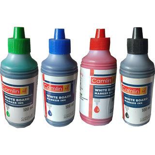 CAMLIN WHITE BOARD MARKER INK 100 ML 4 PC ,BLACK BLUE, RED, GREEN